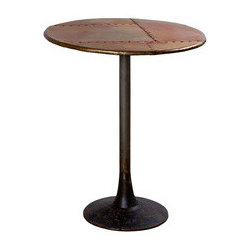 Copper Patchwork Pedestal Table - Side tables always come in handy, whether for displaying your favorite art books, supporting your bedside lamp, or holding snacks and beverages when you entertain. We love this round pedestal table made from reclaimed iron with a rustic copper finish. It has a cool, industrialized edge, but the patchwork top gives it a special charm.