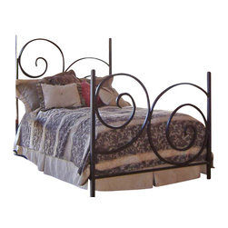 Mathews & Company - Alexander Wrought Iron Bed - Spice up your bedroom or guestroom with this beautiful Alexander bed! The simple yet artistic curves of the hand wrought iron frame can be finished to your preference. You can add on a canopy for some formality and elegance. If the canopy is not really your style, you can purchase just the headboard and frame. Because the manufacturers and aiming to please you, this bed comes in both the queen and king size. Add this gorgeous handmade piece of furniture to your bedroom suite. Pictured in Black finish.