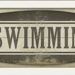 """Swimming"" (Surfboard) Sign Print"