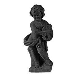 Amedeo Design, LLC - USA - Cherub Painter Statue - Our Painter Cherub is an attractive piece. Portraying a child mixing colors with an old fashioned paint palette and brush its a wonderful piece for anyone interested in glorifying the arts. Perfect for any indoor or outdoor display, its a complementing addition to any dicor. Built with our lightweight and weatherproof ResinStone, our Cherub will delight you for many years to come Made in USA.