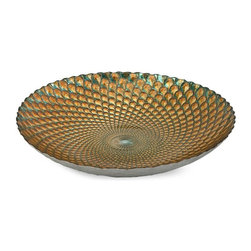 Imax Worldwide Home - Istanbul Glass Bowl - Material: 100% Glass. Food safe. 2.75 in. H x 15.75 in. D. Weight: 3.97 lbs.In shades of teal and gold, this brilliant glass bowl bears the pattern of the illustrious peacock feather. Food safe.