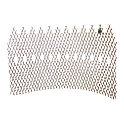 """Master Garden Products - Set of 2 Pcs Peeled Willow Picket Pattern Lattice Trellis Fence, 72""""L x 48""""H - These fences are made of peeled skinless willow sticks, light mahogany in color, carbonized finished for outdoor use. This picket style willow expandable fence can be installed in a semi-circular form, three sections of the fence can form about a 84"""" circle.  With wood post support you can use these expandable fences as a vegetable wall, vine climbing support, or simply as an ornamental backdrop in your outdoor setup. We recommend putting a coat of linseed oil or outdoor sealer to preserve the product in the outdoors. Can be stained with your own color."""