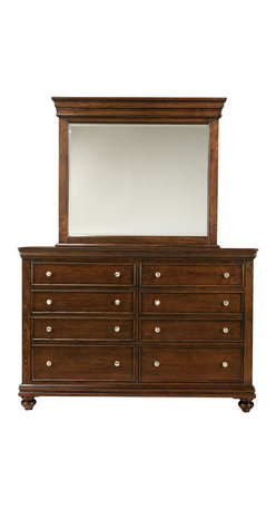 Standard Furniture - Standard Furniture Essex 8-Drawer Dresser with Mirror in Rich Dark Merlot - Essex has updated and streamlined Louis Philippe design styling with a decidedly contemporary attitude.