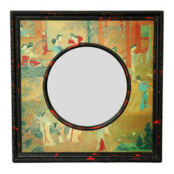 Oriental Unlimted - Oriental Hand Painted Village Scene Mirror - Features beautifully detailed hand-painted scenes of women in colorful kimono going about their daily tasks in a rustic village setting. Features an indigenous Fujian lacquering style. Antique-finished for a gorgeous authentic look. Resulting surface has a matte finish. Built with mahogany and Elm wood. No assembly required. 20 in. W x 1.5 in. D x 20 in. H