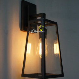 Iron and Clear Glass Wall Sconce in Painted Finish -