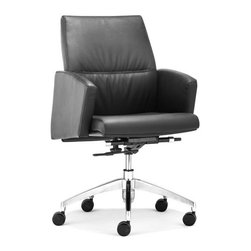 ZUO - Chieftain Low Back Office Chair - Black - Imposing on its rolling steel frame, the Chieftain Office Chair will take you to the top. Go with the black for power or white for elegance. Comes with a high or low back.