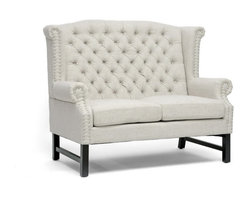 """Baxton Studio - Baxton Studio Sussex Beige Linen Loveseat - A refined elegance with a hint of regal inspiration puts the Sussex Designer Loveseat in a class of its own. Taking basic light beige linen rather than a rich, brightly-colored brocade, the modern loveseat's stately form is a juxtaposition against the fabric. Button tufting accents the back while silver nail head trim lines the scalloped armrests and backrest. The loveseat is built on a birch wood frame with black legs and foam cushioning. The Sussex Loveseat is made in China and should be spot cleaned. A matching sofa and club chair in beige are also offered as well as all three pieces in dark gray linen (each sold separately).  Minor assembly is required. Dimensions: 42.5 inches high x 52.5 inches wide x 31.25 inches deep, seat'sion:40""""W x 22.5""""D x 19.5""""H,Arm height: 25 inches"""