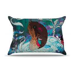 """Kess InHouse - Mat Miller """"Delicate Distraction"""" Otter Teal Pillow Case, King (36"""" x 20"""") - This pillowcase, is just as bunny soft as the Kess InHouse duvet. It's made of microfiber velvety fleece. This machine washable fleece pillow case is the perfect accent to any duvet. Be your Bed's Curator."""