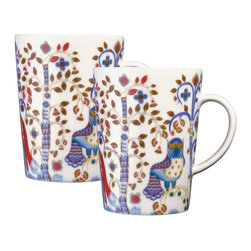 iittala Taika Mug 16 oz  Set of Two White - Iittala Taika is part of the whimsical Taika series, illustrated by Klaus Haapaniemi for Iittala in 2007. Available in white, blue and black the design draws upon folklore for a fanciful design that is visually stunning. Taika means 'magic' in Finnish and the classic forms designed by Heikki Orvola combine well with other Iittala collections, brings a playful magic to your table.