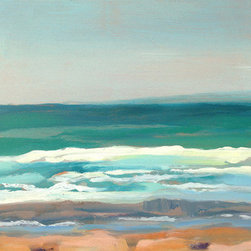 "Midday Breakers (Original) by Fay Wyles - This contemporary seascape features warm sand and brilliant blue/green sea tones with whitewater accents and muted sky tones. ""Midday Breakers"" reminds me of a classic summer day by the beach, down the street from my house: High intensity colors, golden sandy beaches and white breakers rolling into shore. On many sunny days, you'll find me with my toes in the sand, and my portable easel set up, painting the beauty that surrounds me.  Most of my paintings are inspired by the outdoors and painted in the studio, or they are painted on-site ('en plein air', as the french say).  It is painted with high quality oil paint on a solid hand-crafted wood panel.It is painted with high quality oil paint on a solid hand-crafted wood panel. Image wraps around all four sides and eliminates the need for framing. It has a nice substantial look and sculptural feel.  Looks excellent hanging alo"