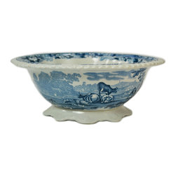 Lavish Shoestring - Consigned Small Blue & White Serving Bowl by Adams & Sons, English Victorian Art - This is a vintage one-of-a-kind item.