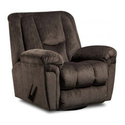 American Furniture Yanny Swivel Recliner - The supremely comfortable American Furniture Yanny Swivel Recliner is designed to keep you comfy, cozy, and supported for years to come. With a sturdy, solid hardwood frame, this traditional swivel-glider features plush padding, a tufted back, and gently-rolled arms designed for sink-in-your-seat comfort. Available in neutral charcoal, this piece will suit a variety of decors and color schemes.About American FurnitureAmerican Furniture is a leading manufacturer of premium quality, traditional home furnishings. Based in Ecru, Mississippi, American Furniture was founded in 1998 on the principles of quality craftsmanship and customer satisfaction. The company's line includes an extensive range of sofas, loveseats, recliners, chairs, and complementary accent tables, each meticulously crafted of the finest materials. Proudly manufactured in the USA, American Furniture is committed to high-quality, American-made furniture delivered at an affordable price.