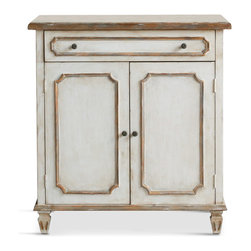 Eloquence - Royale French Country Antique Gold White Wash Nightstand Cabinet - This beautiful bedside table is as pretty as it is practical. A large drawer offers space for essentials, while a cabinet below conceals personal items or extra linens. The whitewashed finish is highlighted with elegant gold trim for a romantic, regal nightstand.