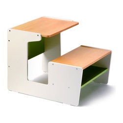 OFFI - Sled Desk, Green - Designed by Roberto Gil, part of the OFFI Mini Drawer and Store Collection.