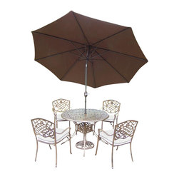Oakland Living - 7-Pc Traditional Dining Set - Includes table, four stackable chairs with cushions, 9 ft. tilt crank umbrella with stand and metal hardware. Lattice pattern and scroll work. Handcast. Hardened powder coat. Fade, chip and crack resistant. Warranty: One year limited. Made from rust free cast aluminum. Antique bronze finish. Minimal assembly required. Table: 42 in. Dia. x 29 in. H (44 lbs.). Chair: 23 in. W x 22 in. D x 35.5 in. H (25 lbs.)The Oakland Mississippi collection combines grace style and modern designs giving you a rich addition to any outdoor setting. We recommend that the products be covered to protect them when not in use. To preserve the beauty and finish of the metal products, we recommend applying an epoxy clear coat once a year. However, because of the nature of iron it will eventually rust when exposed to the elements.