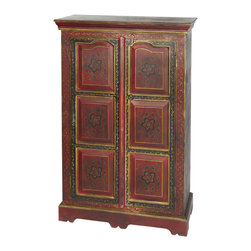 "Everybody's Ayurveda - Red Hand Painted Almirah In Mango Wood - Red Hand Painted Almirah. Mango Wood. Made in India. 41 1/4"" Wide x 13 3/4"" Deep x 48"" Tall. Hand crafted in India, this beautiful cabinet is hand painted red with black accents and floral patterns. Doors open to reveal interior shelving. A slim profile makes this cabinet easy to fit in to entryways, halls or dining areas."