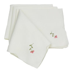 Xia Home Fashions - Fancy Flowers Set Of 4 21-Inch By 21-Inch Napkin-Pink - Cheerful emboidered florals colorfully burst forth on lovely cutwork. A happy and warm accent to any setting!