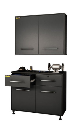 South Shore - South Shore Karbon Base and Wall Storage Cabinets in Pure Black and Charcoal - South Shore - Garage Storage - 5227722972PKG - South Shore Karbon Base Storage Cabinet in Pure Black and Charcoal (included quantity: 1) This Karbon Base Storage Cabinet in Pure Black and Charcoal finish, part of South Shore_s Practik line, is especially designed for the garage or basement organization.