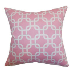 """The Pillow Collection - Qishn Geometric Pillow Baby Pink 18"""" x 18"""" - Pretty and light, this baby pink throw pillow gives life to your interiors. This accent pillow features a geometric print design in white hue. Combine this decor pillow with other patterns like ikats, toiles, florals and more. Toss this lovely square pillow on your chair, sofa, bed or anywhere inside your home. Crafted from 100% durable cotton fabric. Hidden zipper closure for easy cover removal.  Knife edge finish on all four sides.  Reversible pillow with the same fabric on the back side.  Spot cleaning suggested."""