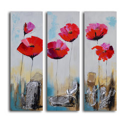 Poppy rocks Hand Painted 3 Piece Canvas Set - On the rocks. Boldly beautifully, this trio of poppies will add an instant shot of brilliant color to your walls. Each canvas is hand painted by the artist for one-of-a-kind character.