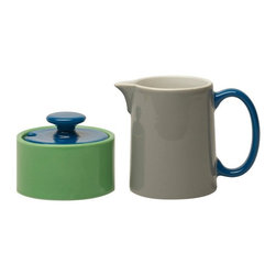 My Sugar Bowl, Green With Blue Lid - This creamer and sugar bowl set would add a splash of subtle color and is perfect for everyday use.