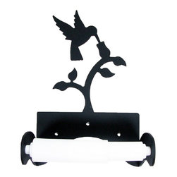 Village Wrought Iron - Village Wrought Iron TT-B-18 Hummingbird Tissue Holder w/ Plastic Roller - Decorative, functional and long lasting handcrafted products for your home carefully made using the finest materials and time-tested methods of craftsmanship. Quality and durable coated products have a baked on powder coating to ensure that you may enjoy each piece for many years. Toilet Tissue Holder Measurements Are Approximate. Proudly crafted in the USA. Material is Handcrafted Iron. Finish is a Flat Black Powder Coated Iron for that long lasting appeal. Silhouette Sizes Vary Slightly. Dimensions are approximately: 5 3/4 In. W x 6 1/2 In. H x 3 1/2 In. D.