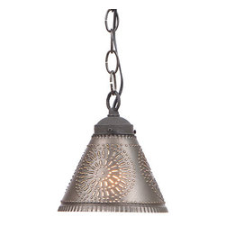 Irvin's Tinware - Crestwood Shade Light in Kettle Black - This pendant would be great with 3 suspended over a kitchen island or in a group over the bathroom vanity. A single pendant over the sink would be the perfect accent.