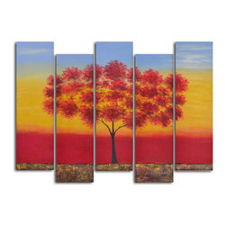 "Red tree quintet Hand Painted 5 piece canvas set - Size: 60"" x 44"" (12"" x 40"" x 5pc)"