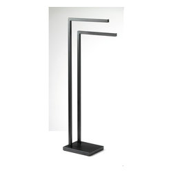 "Square Free Standing Modern Brass Towel Stand by Gedy - Designed and manufactured in Italy by Gedy. Modern free standing solid brass towel rack in matte black finish. Towel bar dimensions: 7.10"" (width), 35.40"" (height), 8.70"" (depth)"