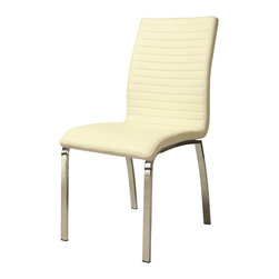 Pastel Furniture - Pastel Furniture Judith Side Chair X-879-HC-011-UJ - The Judith Side Chair exemplifies handsome proportions and bold design. With simple lines mixed with curves for comfort, this beautiful chair adds style and elegance to the dining experience. The chair is upholstered in Pu Ivory with Chrome frame or Pu Champagne with Stainless Steel frame.