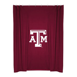 Sports Coverage - NCAA Texas AM Aggies College Bathroom Accent Shower Curtain - Features:
