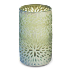 """18KARAT - Green 10.5"""" Vitra Vase - The texture of the Vitra glass collection resembles hundreds of fluttering petals. When lit from behind the effect is of a luminescent stained glass window."""