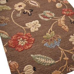 Jaipur - Garden Party Rug, Cocoa, 5'x8' - Exuberant flowers dance across a field of textured rust or chocolate in this exquisite carpet. Hand-tufted in India from 100 percent New Zealand wool, the rug's playful design was inspired by ethnic textiles, but looks as fresh as a newly picked bouquet.