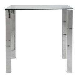 ItalModern - Contemporary Bar Table - Includes table top, base and hardware. 0.47 in. thick tempered glass top. 0.05 in. thick polished stainless steel legs. Easy to clean. Warranty: One year. Clear color. 42.1 in. W x 30 in. D x 42.1 in. H. Assembly InstructionsHow can something so simple make such a wonderful statement? Ask Beth! Never distracting. Always pleasing.