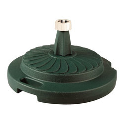 """PLC - Green Commercial Umbrella Stand - Commercial quality umbrella stand offers up to 95 lbs. of heavy holding force when filled with sand. Will accommodate umbrella poles from 1-1/2"""" to 2"""" diameter. Features locking screw on cap and smooth glide roller for easy moving.  Dimensions: 12"""" tall X 22"""" diam."""