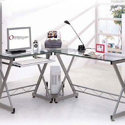 None - Deluxe Tempered Glass L-shaped Computer Desk - Give your home office a distinguished look with this L-shaped computer deskDesk constructed of clear 6mm safety tempered glass with silver powder-coated frameGlass computer desk is sure to enhance any office decor