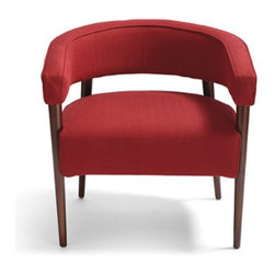 Grandin Road - Dumont Chair in Red - Elegant chair with a wooden frame and upholstered seat and back. Curved backrest is minimal, yet comfortable. Legs have a mahogany finish. Free Swatches Available. Pay homage to mid-20th century modernity with our David Bromstad Dumont Chair. Its shape is a masterful example of form and function. The curved, padded back also serves as comfortable armrests. Tapering wooden legs have sturdy simplicity. Upholstered as you specify in high-quality woven fabric or metallic-toned pleather.  .  .  . A Grandin Road exclusive.