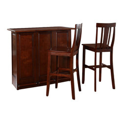 "Crosley Furniture - Crosley Mobile Folding Bar in Vintage Mahogany with 30"" Shield Stool - Crosley Furniture - Home Bars - KF400031MA"