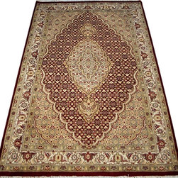 "ALRUG - Handmade Red Persian Tabriz Rug 4' x 6' 1"" (ft) - This Pakistani Tabriz design rug is hand-knotted with Wool on Cotton."