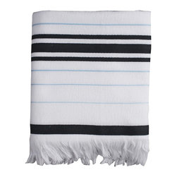 Nine Space - Nine Space Ayrika Black Etesian Fouta Towel - Nine Space Ayrika Black Etesian Fouta TowelTalk about versatility! The Ayrika Black Etesian Fouta Towel from Nine Space can be used as a pool towel, a bath towel, or even a throw. It's made from soft, absorbent terry cotton and features thick bands and thin stripes in bold black and pale blue. Use it for a bit of nautical chic in your coastal home, or let it go clean and contemporary in a modern space. Now that's how to do form and function right.Made in Turkey