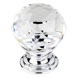 "Top Knobs - Clear Crystal Knob 1 1/8"" w/ Polished Chrome Base - Width - 1 1/8"", Projection - 1 1/2"", Base Diameter - 15/16"""