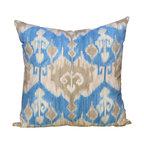 PillowFever - Ikat Cotton Pillow Cover in Blue and Grey - Pillow insert is not included!
