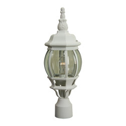 Craftmade - Craftmade Cast Aluminum French Style Traditional Outdoor Post Lantern Light X-40 - French influencing gives a more decorative appeal to this classic Craftmade outdoor post lantern light. The subtle spherical shape of the lantern body has been topped by an eye-catching finial and paired with a plethora of traditional details such as the clear beveled glass panels. Available in three different finishes for added versatility and appeal.