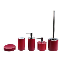 Gedy - 5 Piece Red Bathroom Accessory Set, - Fashionable red bathroom accessory set including small soap dish, large soap dish, toothbrush holder, toiletbrush holder, and soap dispenser.