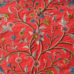 Crewel Fabric World by MDS - Crewel Fabric Tree of Life Multi Color on Exotic Red Cotton Duck- Yardage - Inspiration:Tree of Life is a pattern inspired by the flowers of kashmir.This Crewel Fabric representing the flowers in a garden is a delicate balance of real flowers and an artists imagination.History: Tree of Life was added to our collection to provide the joy of the flower into our homes.Use:Tree of Life is for you if you want a beautiful Crewel Fabric to make your home stylish and elegant. Suitable for Upholstery and Drapery. It Enriches our Living by bringing a bright Jacobean Floral Crewel into our homes.