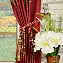 Red Embroidered Dupioni silk curtains - Give your room more appeal with the pastoral style window collection. Each panel is made of pure silk with embroidery. Interlining makes for gorgeous draping and year-round energy efficiency.
