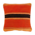 Baba Souk - Striped Moroccan Pillow, Orange Combo - While wandering through Marrakesh and visiting the coolest riads, (which are traditional guesthouses usually decorated with great folkloric finds, the hippest places to stay when traveling to Marrakesh) I noticed a new trend, these wonderful pillows with colorful candy stripes! Since I am a huge fan of stripes I loved them instantly.