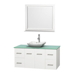 "Wyndham Collection - Centra 48"" White Single Vanity, Green Glass Top,Avalon White Carrera Marble Sink - Simplicity and elegance combine in the perfect lines of the Centra vanity by the Wyndham Collection. If cutting-edge contemporary design is your style then the Centra vanity is for you - modern, chic and built to last a lifetime. Available with green glass, pure white man-made stone, ivory marble or white carrera marble counters, with stunning vessel or undermount sink(s) and matching mirror(s). Featuring soft close door hinges, drawer glides, and meticulously finished with brushed chrome hardware. The attention to detail on this beautiful vanity is second to none."