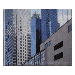 "Chicago Windows 1305, Original, Mixed Media - ""digitally manipulated photography, pigment printing on silk, piecing, hand quilting, gallery-wrapped stretched canvas support"""