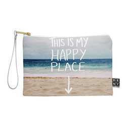 DENY Designs - DENY Designs Leah Flores Happy Place X Beach Pouch - You name it, DENY's Pouches hold it! Available in two sizes and styles, you can use our water repellent pouches for cosmetics, perfume, jewelry, pencils and even an Ipad mini! And did we mention that the small size doubles as a wristlet? With a coordinating color strap and interior lining, you can throw it into a larger bag or use it on the go as a clutch to hold your phone, credit cards and various other essentials. It's a party in a bag!